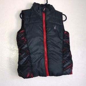 Spyder baby boys puff vest black & red & grey